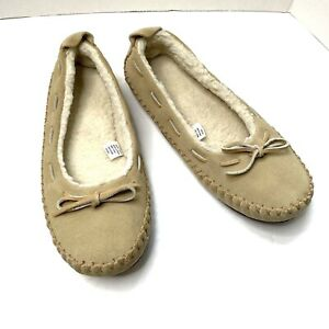 LL Bean Hearthside Shearling Lined  Moccasin Slippers Beige Womens size 10
