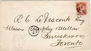 Guelph Ont FE,23'85.3c Small Queen cork cancel w/ postmans mark to Toronto