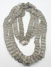 Vintage Antique 800 Silver Extra Long Unique Link Necklace