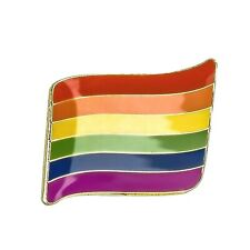 Rainbow Wavy Flag Metal Pin Badge - LGBT Lesbian Gay Diversity Pride Equality