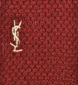 YVES SAINT LAURENT SKINNY SQUARE END Tie 70%Wool30%Alpaca Burgundy Color L54W2.3