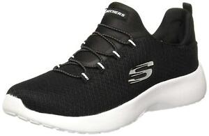Skechers Womens Summits Low Top Bungee Fashion Sneakers, Black/White, Size 8.5 X