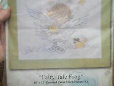 """Counted Cross Stitch """"Fairy Tale Frog"""" 10"""" x 12"""" Little Girl Angel Frog in Box"""