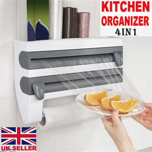 4 in 1 Kitchen Roll Dispenser Cling Film Tin Foil Wall Mounted Towel Holder Rack