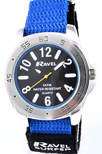 Ravel Mens Youths Surfer Watch 5ATM Water Resistant Fast Fit Blue Black Strap