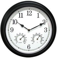 Indoor Outdoor Black Wall Clock Thermometer Weather Proof Quartz Durable Metal