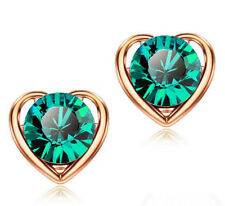 Charm Crystal Gold Plated Heart Rhinestone Stud Earrings Fashion Women Jewelry