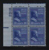 1938 PREXY Roosevlet Sc 830 MNH 30c eye plate block CV $16