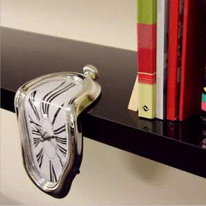 Novelty Surreal Melting Distorted Wall Clock Home Office Decor Gift Silver