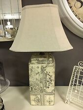 Toile De Jouy Table Lamp Lined Linen Shade Cream Black