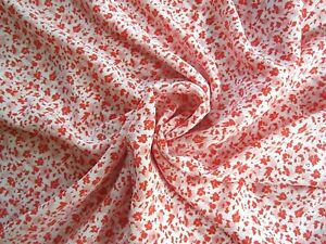 "Vintage Polyester Fabric 3'21"" x 45.5"" NOS EMDAY 1987 pink/red flowers on white."