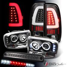 For 99-04 F250/350 Black Pro Headlights + Light-Bar Tail Lights + LED 3rd Brake
