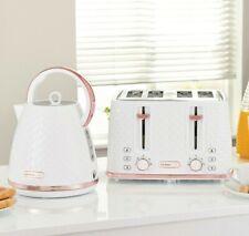NEW-DESIGN DIAMOND Beautiful White & Rose Gold Kettle And 4 slice Toaster Set
