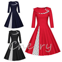 Womens Polka Dot Vintage 1950s Rockabilly Christmas Evening Party Swing Dress UK