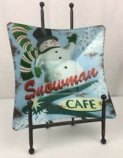 "Prima Design Retro Christmas Decor ""Snowman Cafe"" Tempered Glass Serving Bowl"