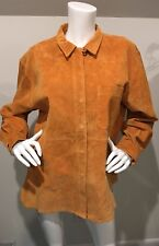 New Arleen Bowman Chin Chin Dark Orange Suede Button Down Front Shirt Large