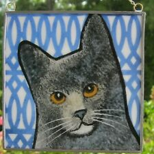 "Gray Cat Windshop stained glass suncatcher kiln-fired 4""x 4"" #56"