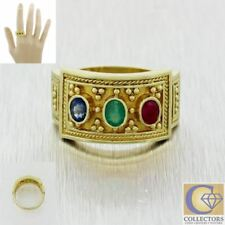 Vintage Estate Greek Etruscan 18k Gold Emerald Ruby Sapphire Wide Band Ring
