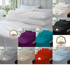 100% Egyptian Cotton Extra Deep Fitted Sheets 40CM 16 Sheets Finest Quality,YAW
