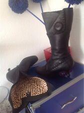 Damen Pollini Made in Italy Stiefel/Stiefelette Gr.37 schwarz echtes Leder