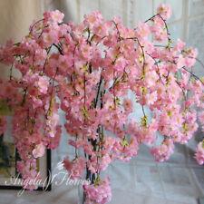 4 Forks Artificial Cherry Blossom Flower Garland Vine Leaf Hanging Wedding Decor