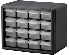 Small Parts Organizer Storage Cabinet 16 Clear Plastic Drawers Finger Grip Pulls