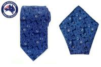 Men's Dark Blue Paisley 8.5CM Necktie & Pocket Square Grooms Wedding Tie Hanky