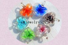 FREE Wholesale Lot 6Pcs Heart 3D Flower Murano Glass Bead Pendants Fit Necklace