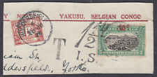 1924 Belgian Congo 10d Overprint;1 1/2d Postage Due;Yakuu;to Huddersfield;scarce