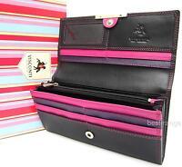 Ladies Visconti Purse Soft Leather Wallet Black/Purple Luxury in Gift Box R11