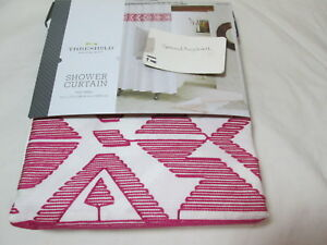 NEW Threshold Quality & Design Shower Curtain Ivory/PINK EMBROIDERY TRIBAL NIP