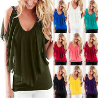 Womens Off Shoulder V Neck Chiffon T-Shirt Ladies Summer T Shirt Top Blouse