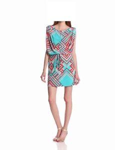 Jessica Simpson Dress Sz S Blue Multi Color Multi Way Sleeve Cocktail Party