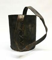Antique Handmade Leather Lineman Pail Bucket