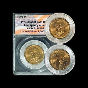 2008 P Presidential Dollar (JQ Adams) - ANACS MS66 (Presidential Oath Dollar)