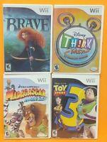 Nintendo Wii Wii U Games LOT Disney Think Fast Toy Story 3 Brave Madagascar Kart