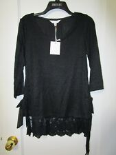 NWT Women's LC LAUREN CONRAD Black Tie Side Textured Blouse Size Small -MSRP $40