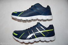 Mens Athletic Shoes NAVY BLUE SNEAKERS Silver Lime Green ACTION FLEX Lace Up 7