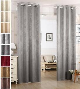 Schwere Vorhang mit Ösen BLICKDICHT Damast Verdunklungsvorhang glänzend