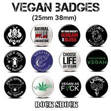 Vegan Badges Animal Activist Pin Button Gift 25mm 38mm