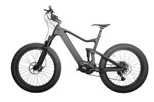 "18 ""26ER Carbon Fat Bike 9S Electric Bafang 1000W Dual Suspension 28MPH E-Bike"