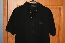 NWT Polo Ralph Lauren Black Polo S/S Shirt Men's  Medium Custom Fit Retail $99