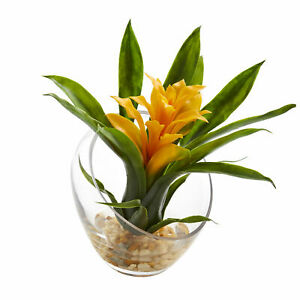 8'' Tropical Bromeliad In Angled Vase Arrangement Nearly Natural Yellow Flower