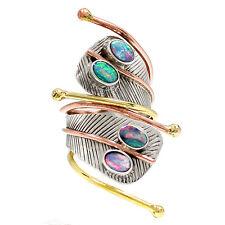 Two Tone - Tribal Snake Australian Opal 925 Sterling Silver Ring  s.8 RR37443