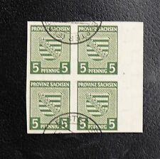 TIMBRES D'ALLEMAGNE : 1945 SACHSEN / SAXE - N° 3 YVERT EN BLOC DE 4 Oblitéré ND