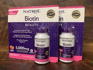 Lot Of2 Natrol Biotin 5000mcg 250 TabletsEa.Fast Dissolve,Strawberry Flavor 3/22