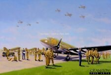 Military Art Post Card Operation market Garden Arnhem Bridge Dakotas paratrooper