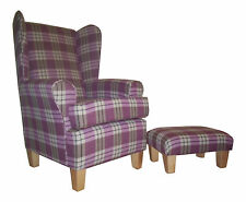 Wing Back/Fireside Chair Kintyre Heather Tartan Fabric plus Matching Footstool