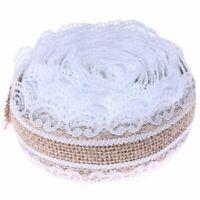 2.5cm x 5m Garland Roll Natural Jute Ribbon Burlap Hessian Lace for Vintage  4E6