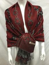 2PLY THICK PASHMINA CIRLCE CHAIN REVERSIBLE WEAR SCARF WRAP BURGUNDY GRAY